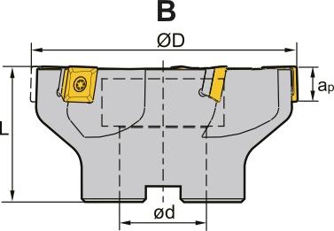 Frez składany nasadzany walcowo - czołowy 100 x 32 MM (FB90SE)