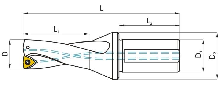 Rysunek wiertło składane DARMET - na płytki wiekoostrzowe WCMX