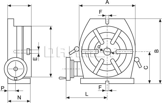 Stół obrotowy, podziałowy (pion i poziom) - 200MM
