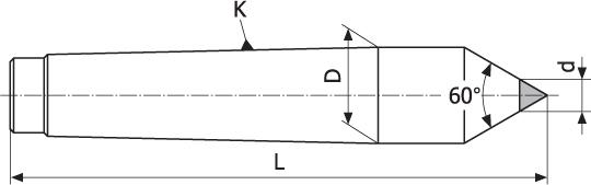 Kieł tokarski stały z końcówką z węglików spiekanych - Morse 2 (DE2)