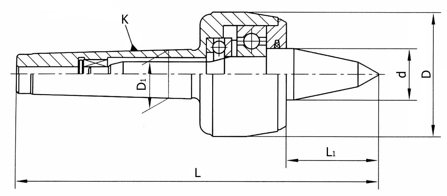 Kieł tokarski obrotowy wydłużony - Morse 5 (D115)