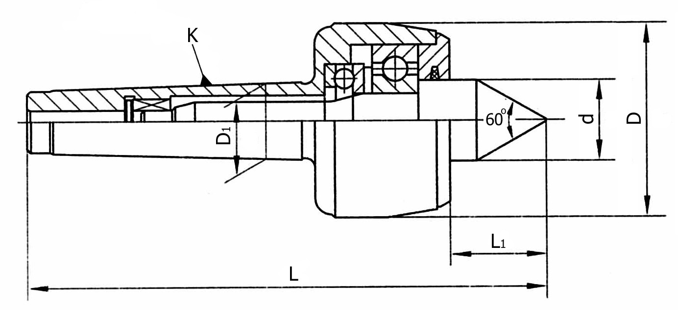 Kieł tokarski obrotowy wydłużony - Morse 4 (D214)