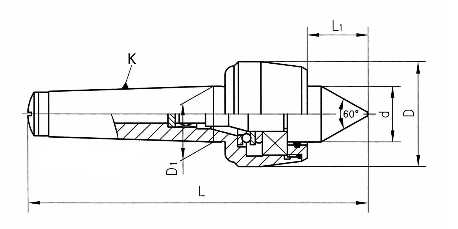 Kieł tokarski obrotowy wydłużony - Morse 3 (D313)