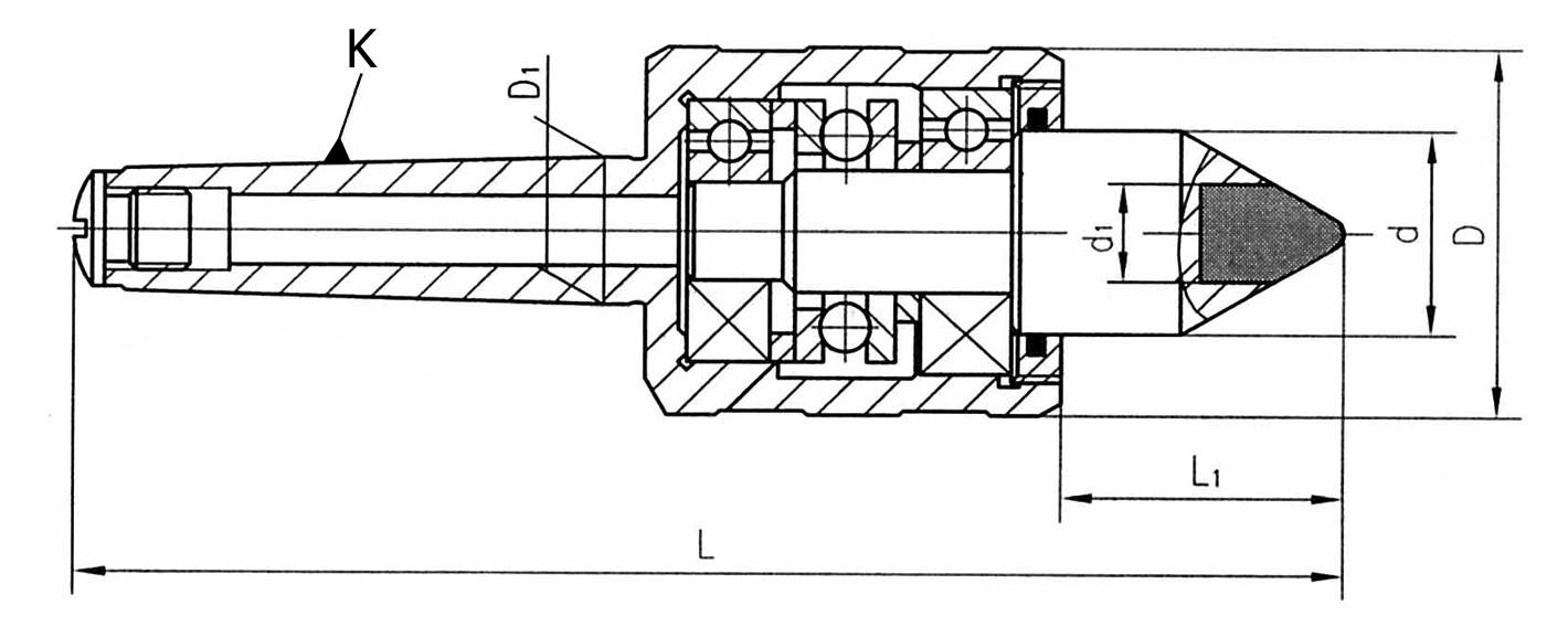 Kieł tokarski obrotowy wydłużony - Morse 2 (D412A)