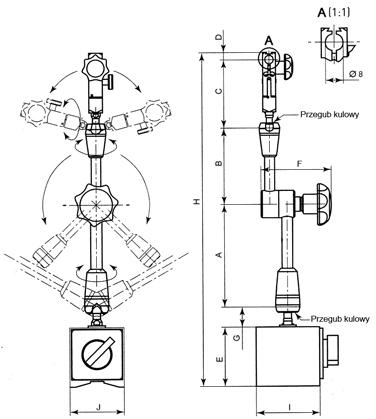 Statyw magnetyczny przegubowy z zaciskiem hydraulicznym (201)
