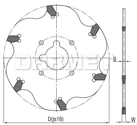 Frez składany piłkowy 6-ostrzowy NFTs - 160 - 32 - 3 - DOLFAMEX