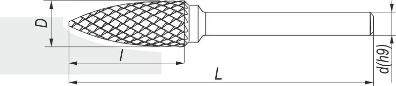 Pilnik obrotowy łukowy ostry SPG, 12x25MM, chwyt 6MM - FENES (0641-500-030-120)